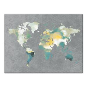 Designs direct 30 in x 40 in watercolor world map gray warm watercolor world map gray greens printed canvas wall art gumiabroncs Gallery