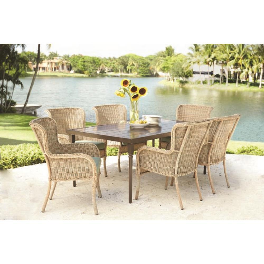 Hampton Bay Lemon Grove 7-Piece Wicker Outdoor Dining Set with CushionGuard Surplus Cushion