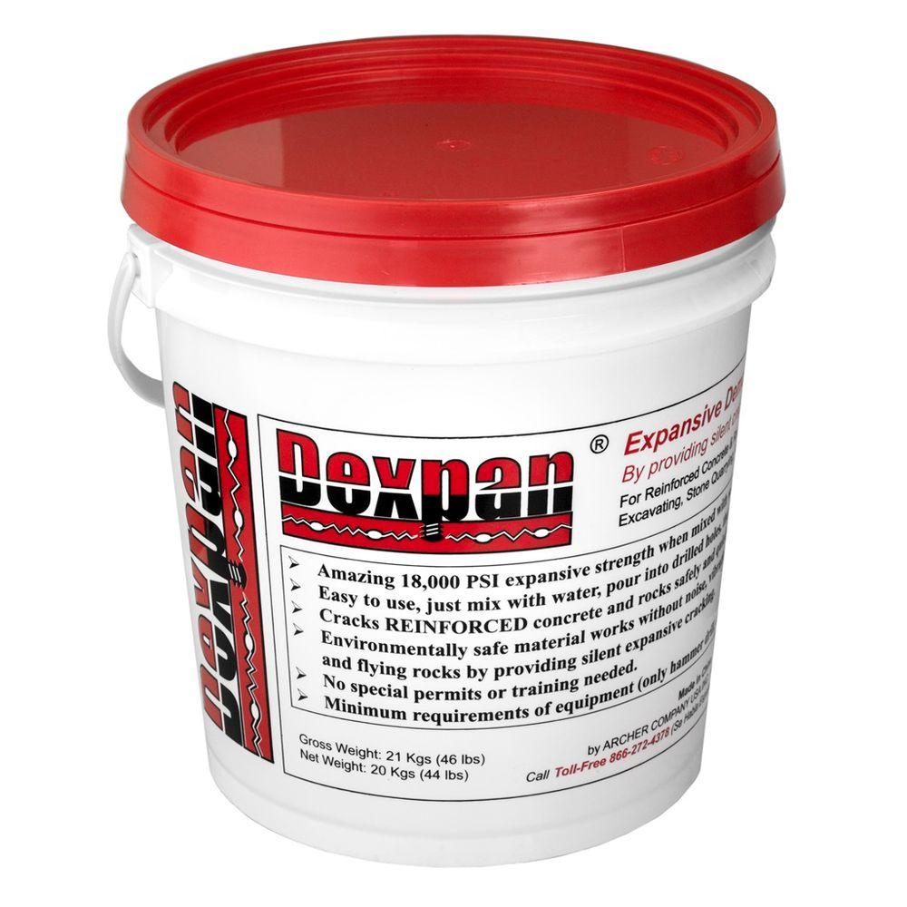 Dexpan 44 lb. Bucket Type 1 (77F-104F) Expansive Demolition Grout for Concrete Rock Breaking and Removal