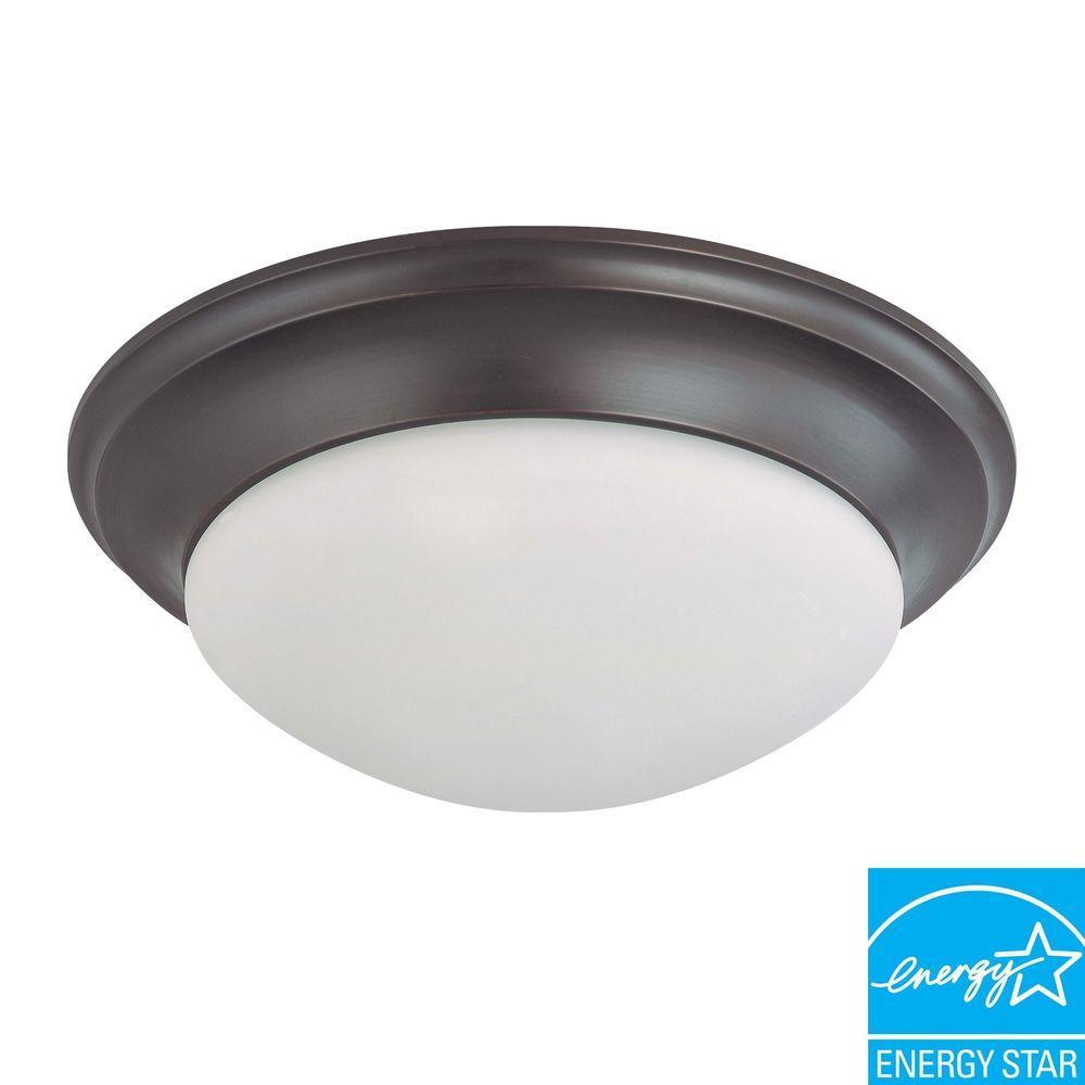 3-Light Mahogany Bronze Fluorescent Ceiling Flushmount