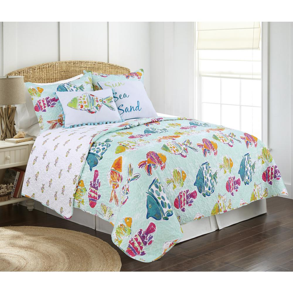 Marlin Fish Blue Multi King Quilt Set