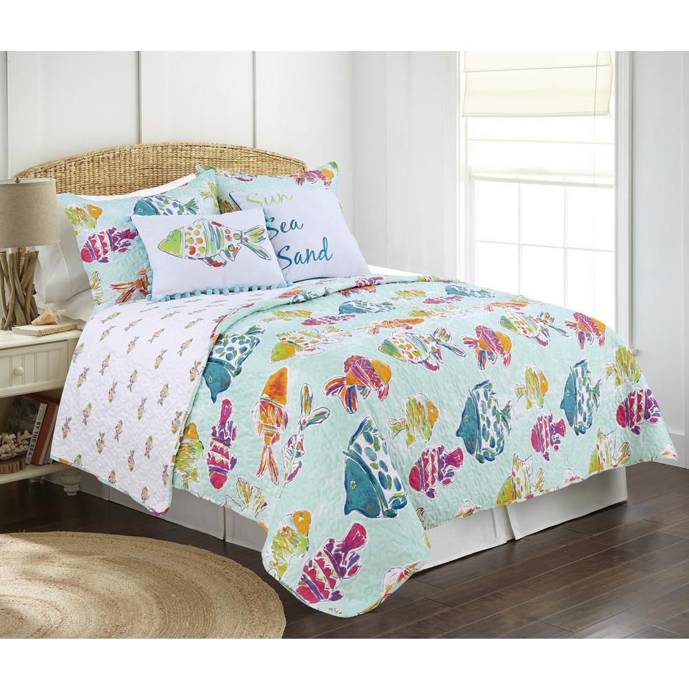 Marlin Fish Blue Multi King Quilt Set
