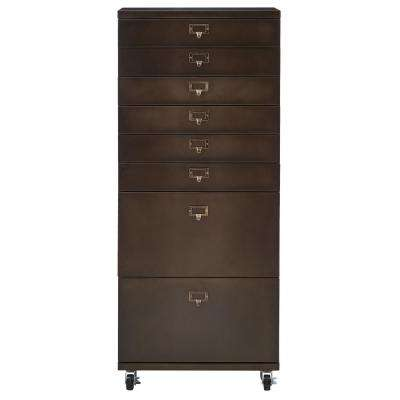 Becker 7-Drawer Antiqued Bronze Metal Cart