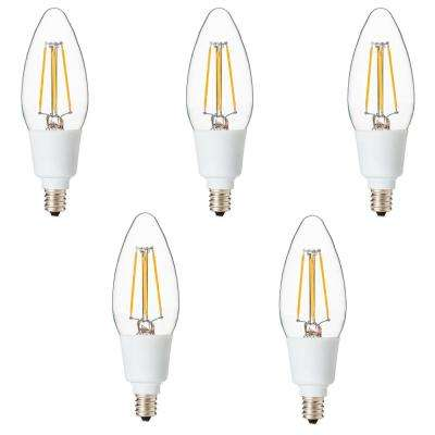 Dimmable Filament 40-Watt Equivalent 2700K E12 B11 LED Replacement Fine Tip Light Bulb, Warm White (Set of 5)