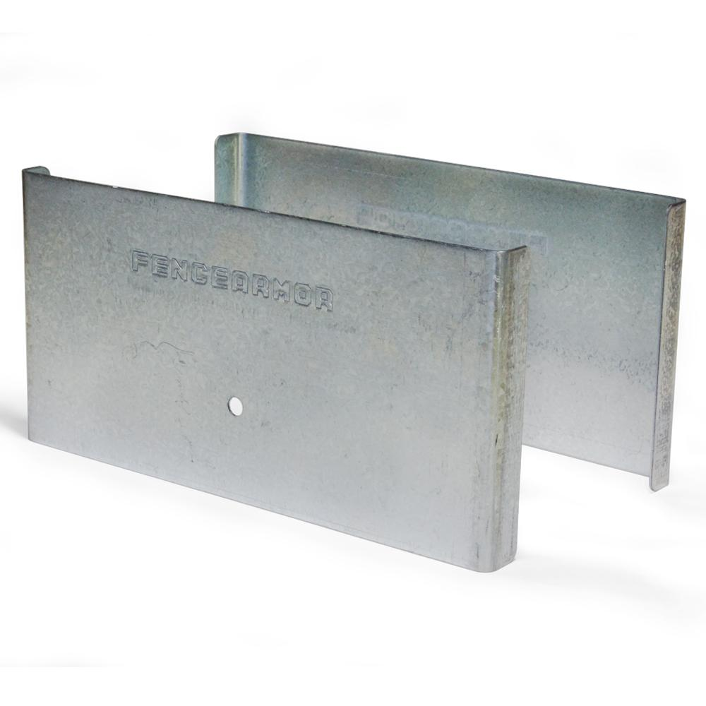 Fence Armor Galvanized Steel Demi Fence Post Guard 6 in. L x 3 in. H x .5 in. D for Wood or Vinyl