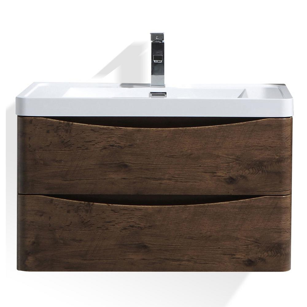 Moreno Bath Smile 32 in. W Wall Hung Bath Vanity in Rosewood with Reinforced Acrylic Vanity Top in White with White Basin