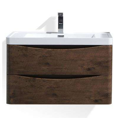 Smile 32 in. W Wall Hung Bath Vanity in Rosewood with Reinforced Acrylic Vanity Top in White with White Basin