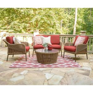 Terrell 4-Piece Wicker Seating Set with Red Cushions