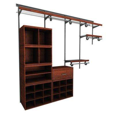 Elite 96 in. H x 96 in. W x 14.1 in. 52-Piece Wire and Laminate Closet System in Dark Cherry