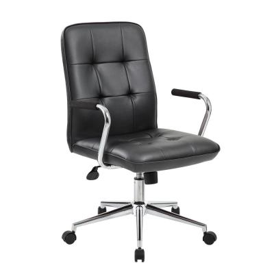 Modern Black Office Chair with Chrome Arms