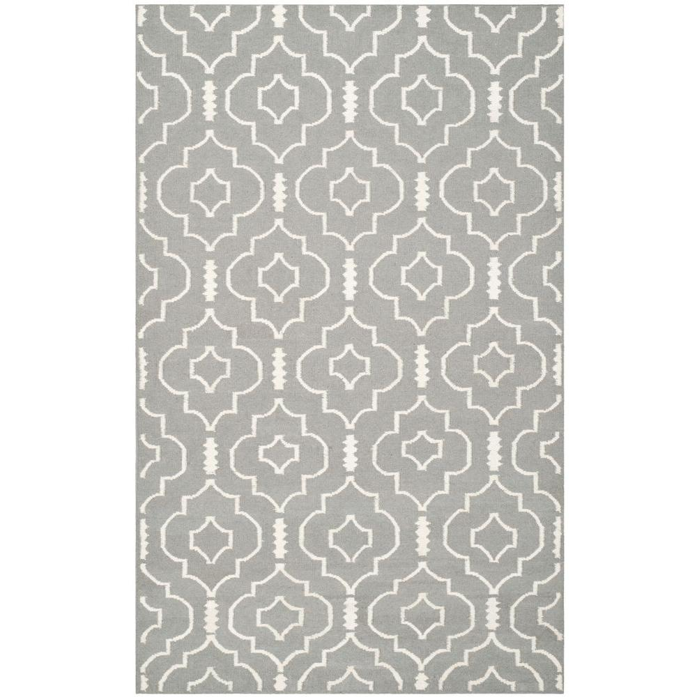 Safavieh Dhurries Grey/Ivory 6 ft. x 9 ft. Area Rug