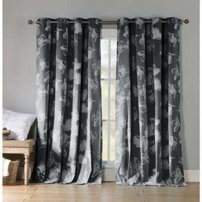 Aster 84 in. L Polycotton Burnout Grommet Panel in Charcoal (2-Pack)