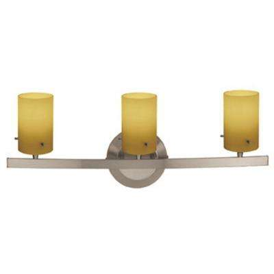 Classical 3 Light Matte Chrome Vanity Light with Amber Glass Shade