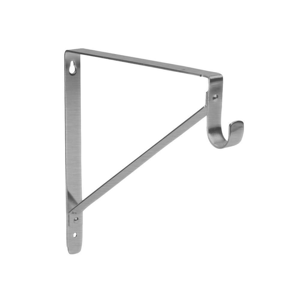 Lido Designs Brushed Nickel Heavy Duty Shelf And Rod Bracket