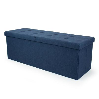 43 in. Blue Folding Storage Ottoman Bench with Tufted Padded Flip Lid