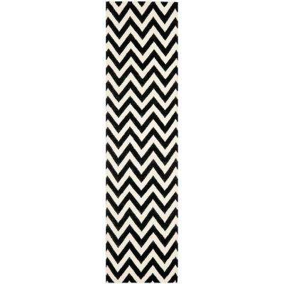 Dhurries Black/Ivory 3 ft. x 8 ft. Runner Rug