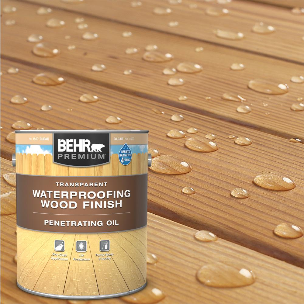 BEHR Premium 1 Gal. Transparent Penetrating Oil-Based Exterior Waterproofing Wood Stain Clear Tint Base