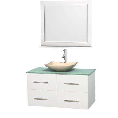 Centra 42 in. Vanity in White with Glass Vanity Top in Green, Ivory Marble Sink and 36 in. Mirror