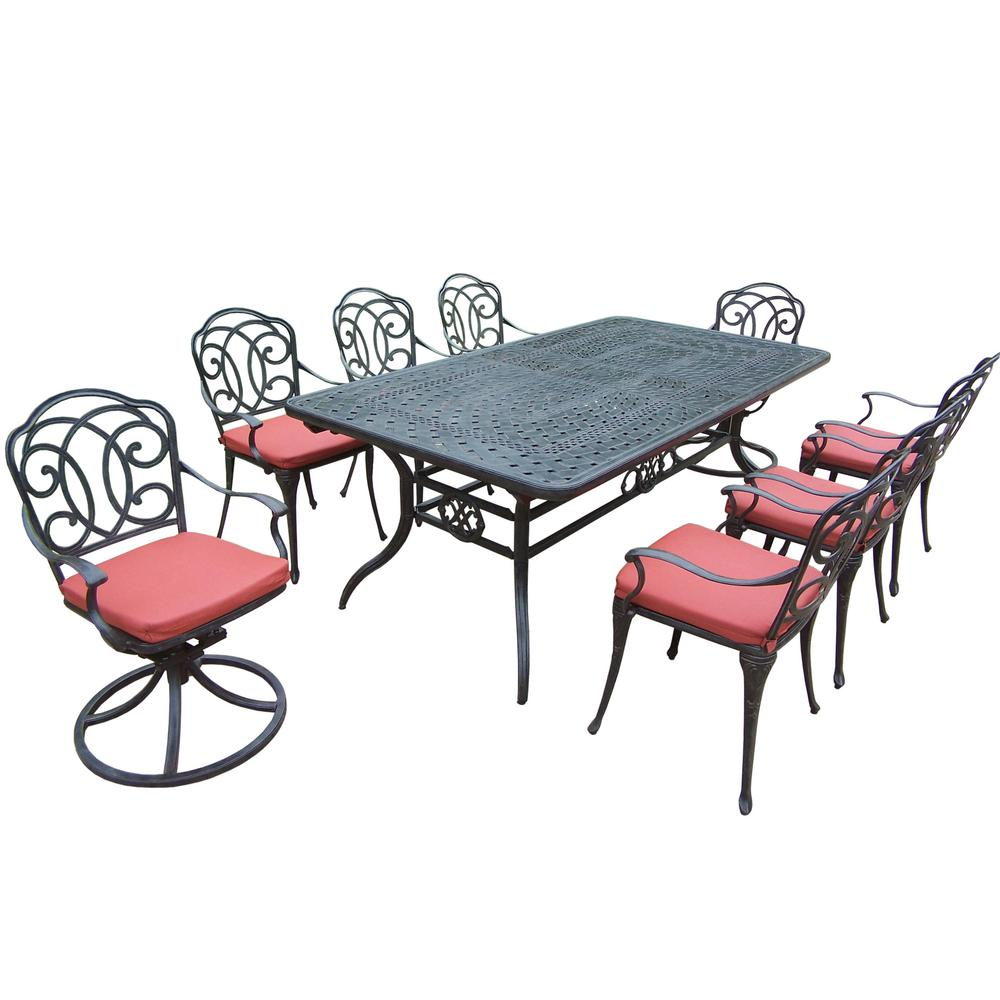 Null 9 Piece Aluminum Outdoor Dining Set With Red Cushions