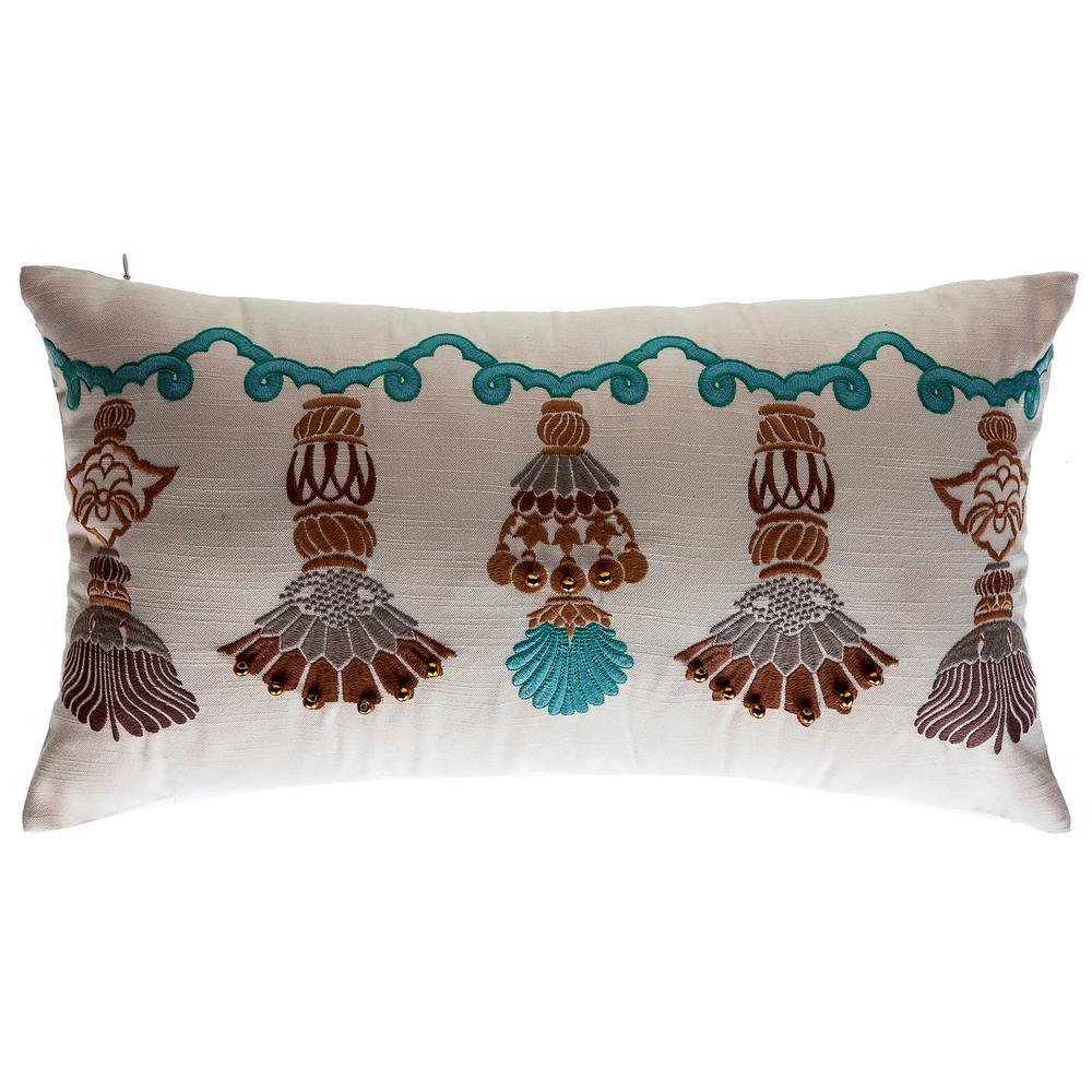 India Tassels Lumbar Outdoor Throw Pillow