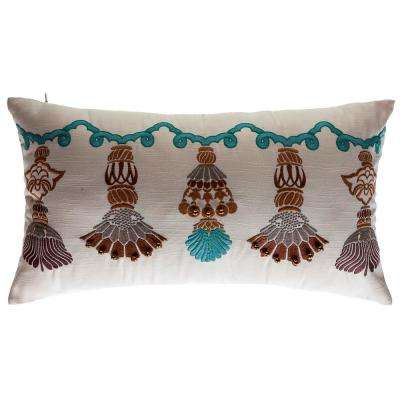 India Tassels Lumbar Outdoor Throw Pillow