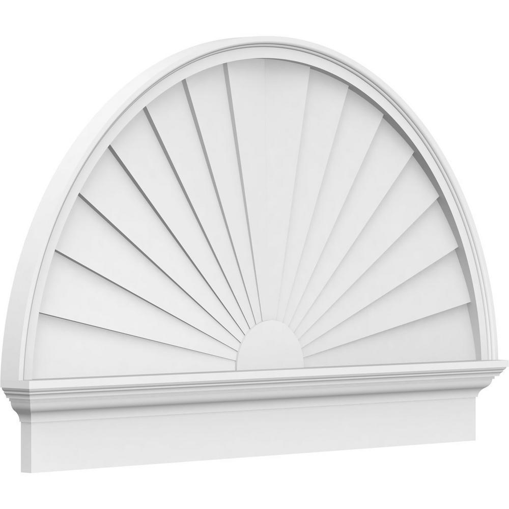 2-3/4 in. x 84 in. x 48-3/4 in. Half Round Sunburst Architectural Grade PVC Combination Pediment Moulding