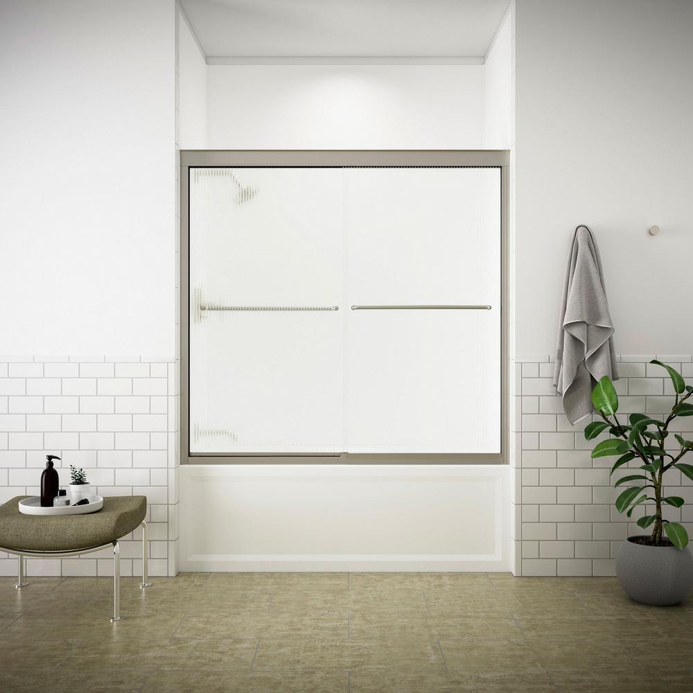Fluence 59-5/8 in. x 55-3/4 in. Frameless Sliding Shower Door in Matte Nickel with Handle