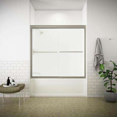 Fluence 54 in. to 57 in. x 55-3/4 in. Semi-Frameless Sliding Shower Door in Matte Nickel with Handle