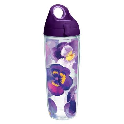 Watercolor Pansy 24 oz. Clear Water Bottle