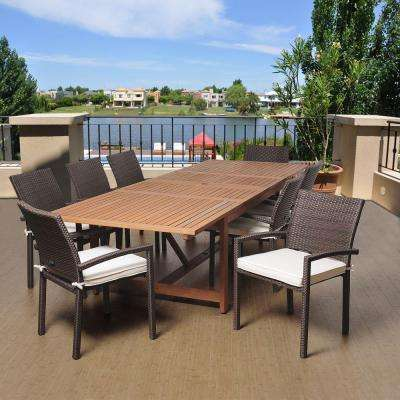 Yorke 9-Piece Eucalyptus Extendable Rectangular Patio Dining Set with Off-White Cushions