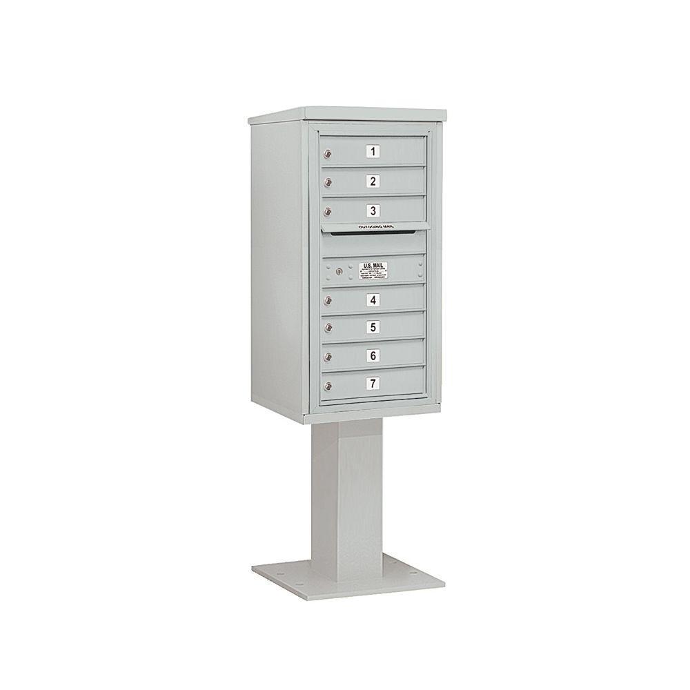 3400 Series 62-1/8 in. 9 Door High Unit Gray 4C Pedestal Mailbox with 7 MB1 Doors