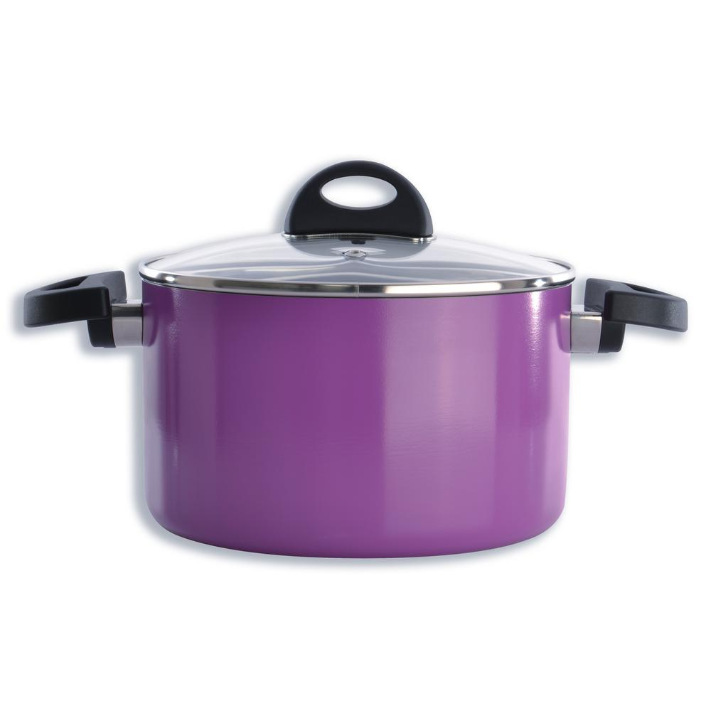 Eclipse 3.9 Qt. Aluminum Non-Stick Purple Casserole Dish with Lid