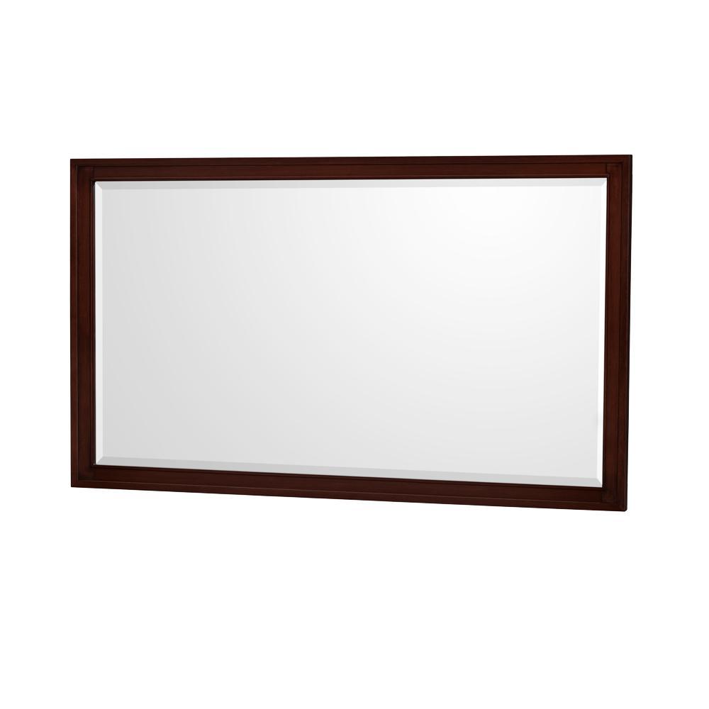 Hatton 56 in. W x 33 in. H Framed Wall Mirror in Dark Chestnut