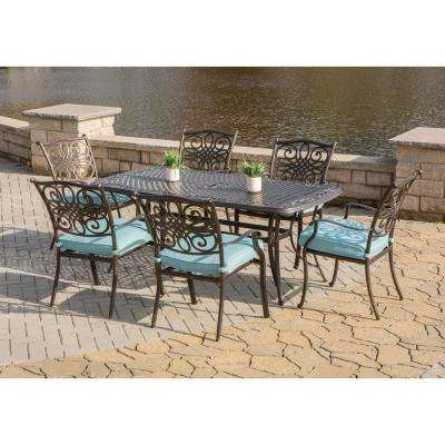 Traditions 7-Piece Aluminum Outdoor Dining Set with Rectangular Cast-Top Table with Blue Cushions