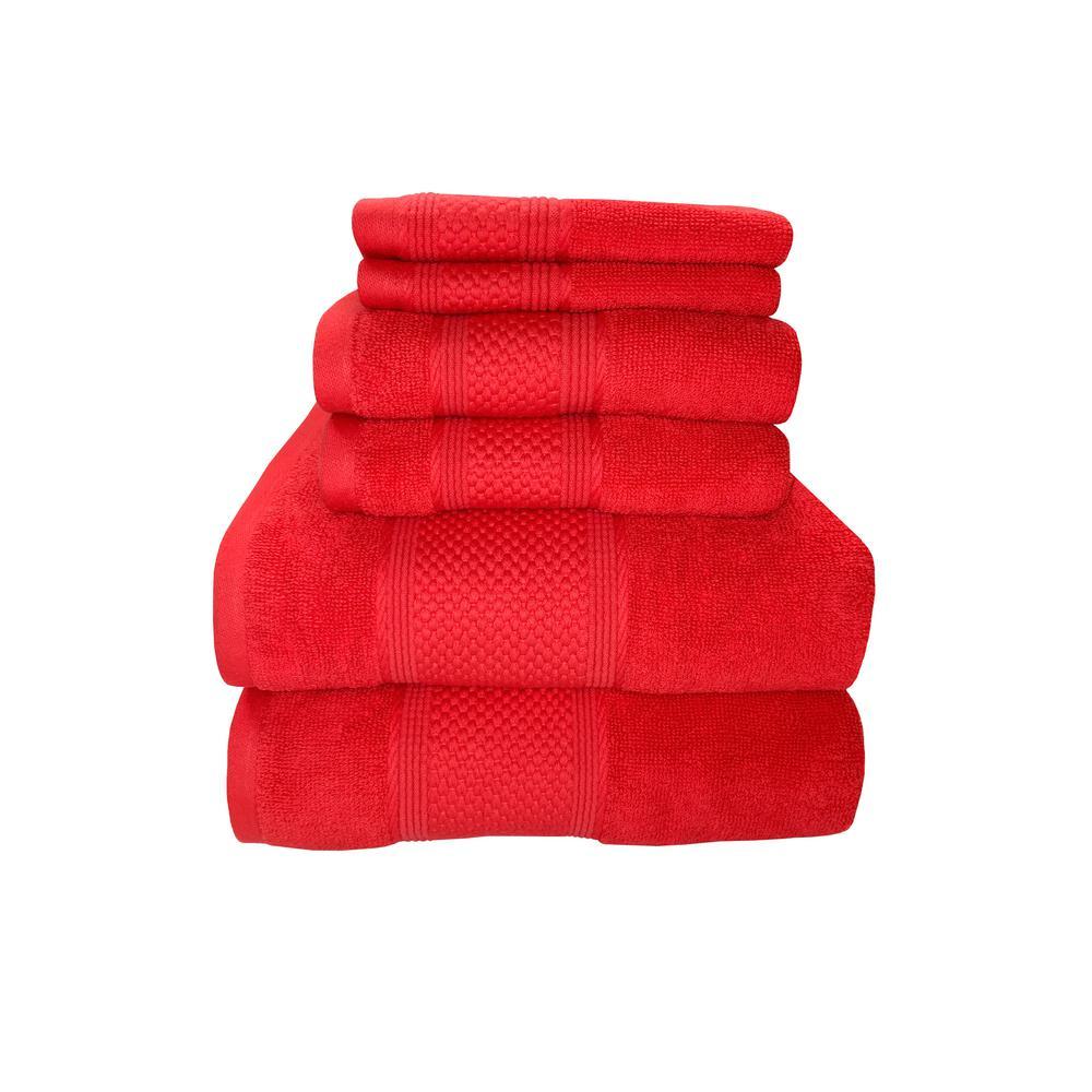 Horizon 6-Piece 100% Cotton Bath Towel Set in Sugar Coral