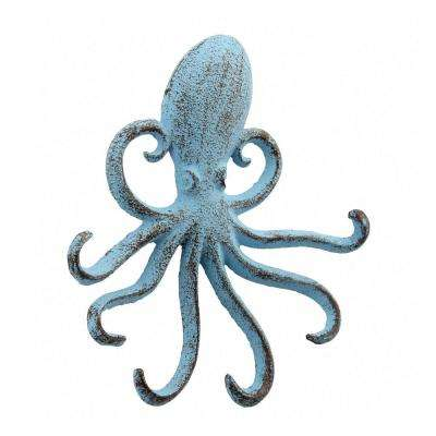6 in. Blue Cast Iron Octopus Wall Hook