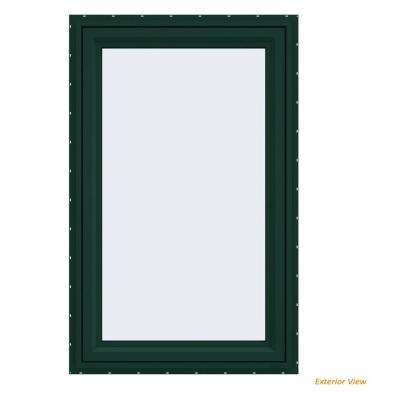23.5 in. x 35.5 in. V-4500 Series Green Painted Vinyl Right-Handed Casement Window with Fiberglass Mesh Screen