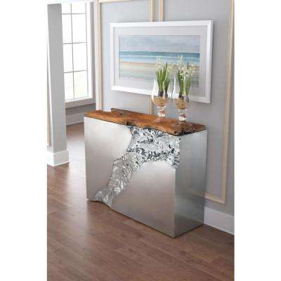 Luxe Natural and Stainless Steel Console Table