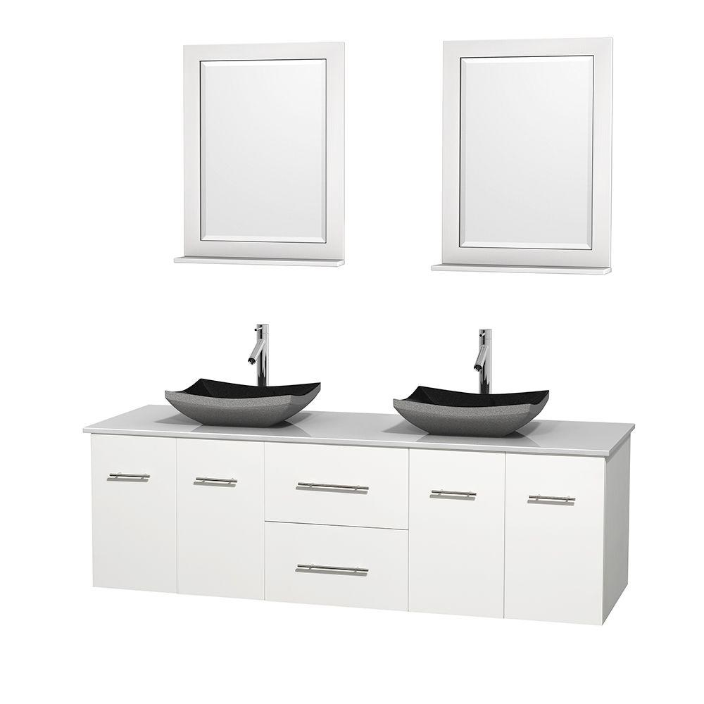 Wyndham Collection Centra 72 in. Double Vanity in White with Solid-Surface Vanity Top in White, Black Granite Sinks and 24 in. Mirrors