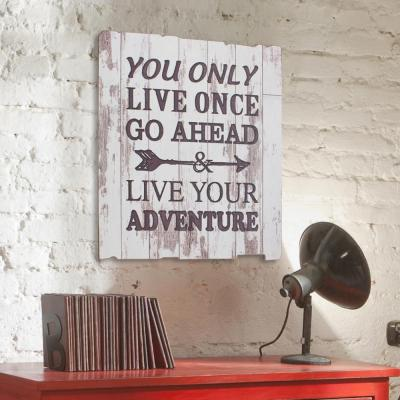 """15.5 in. x 15.5 in. Weathered White Wood """"Live your Adventure"""" Wall Art"""