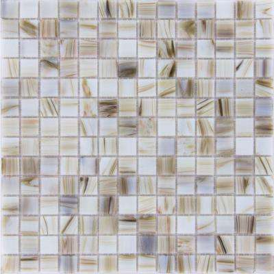 Ivory Iridescent 12 in. x 12 in. x 4 mm Glass Mesh-Mounted Mosaic Tile