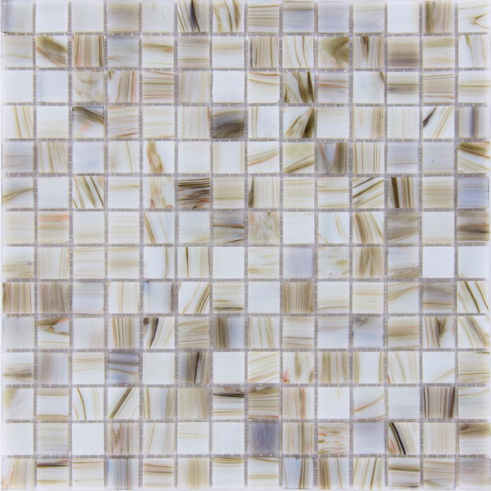 MS International Ivory Iridescent 12 in. x 12 in. x 4 mm Glass Mesh-Mounted Mosaic Tile (20 sq. ft. / case)