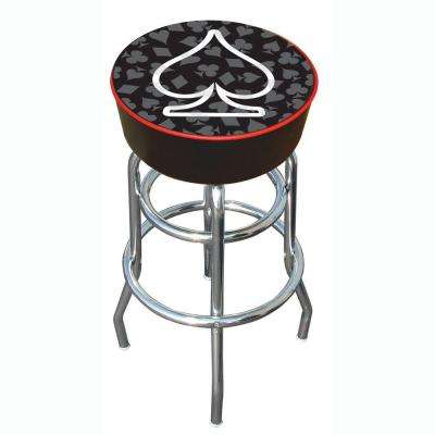 Four Aces Spade 31 in. Chrome Swivel Cushioned Bar Stool