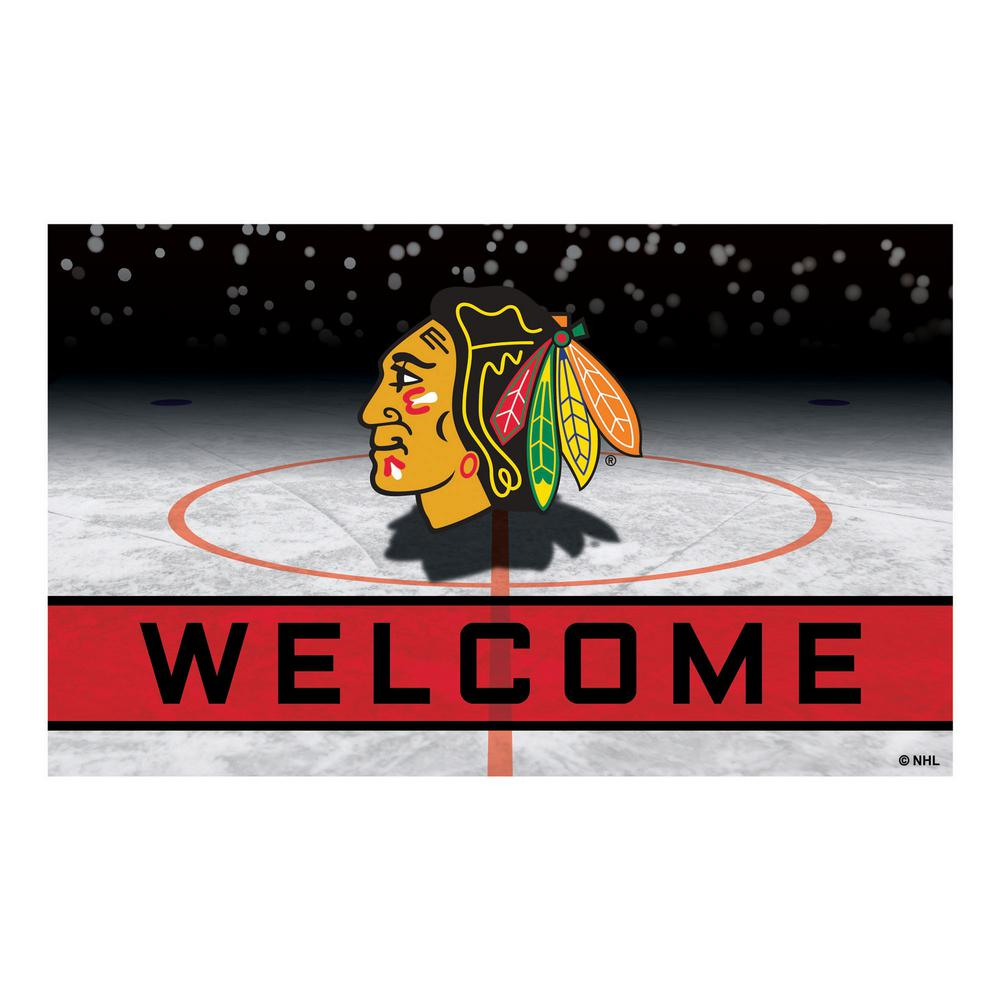 Fanmats Nhl Chicago Blackhawks 18 In X 30 In Rubber Door Mat
