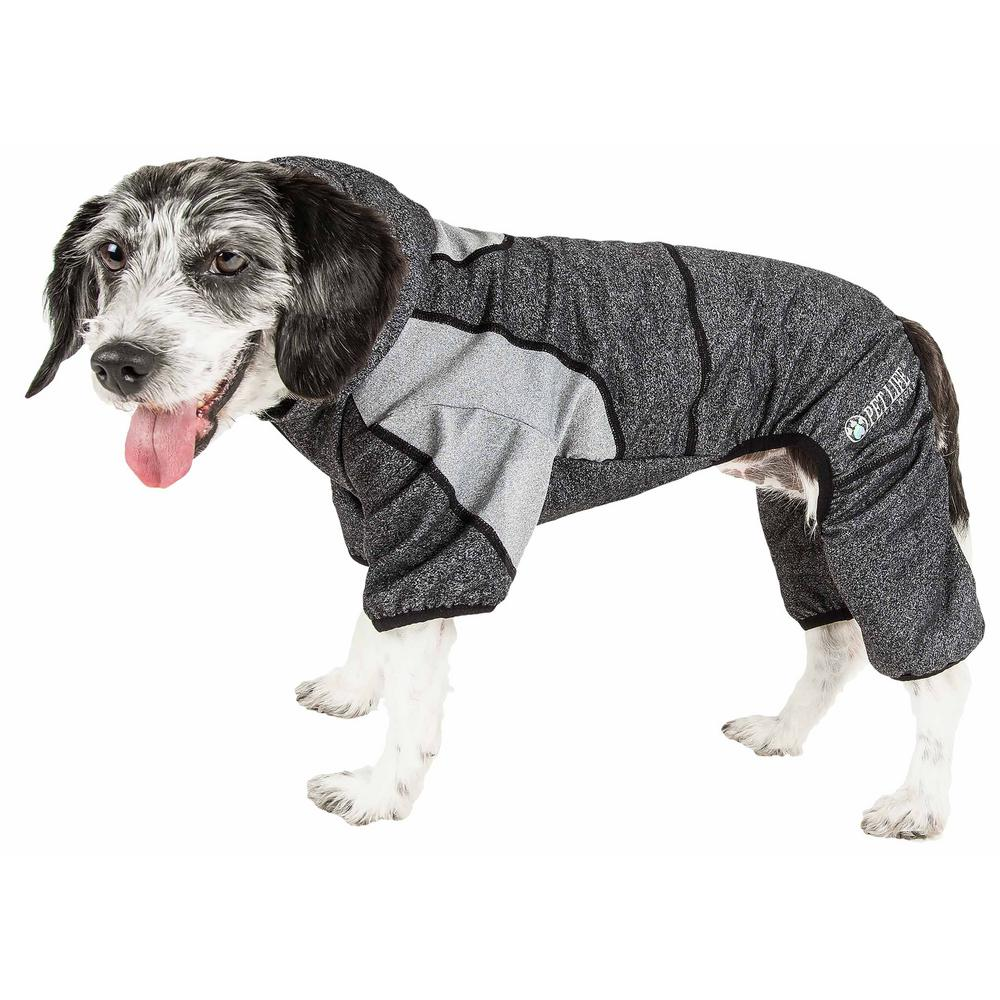 PET LIFE X-Small Black Active Fur-Breeze Performance Two-Toned Full Bodied Hoodie