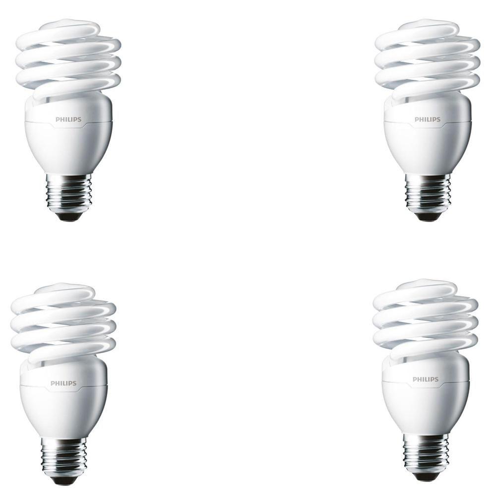 Philips 100 Watt Equivalent T2 Twister Cfl Light Bulb Daylight Deluxe 4 Pack 433557 The Home Depot