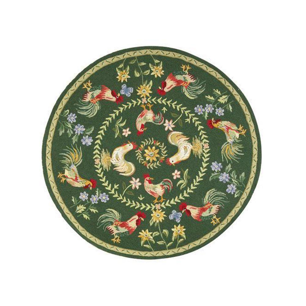 Home Decorators Collection Spring on the Farm Hunter Green 8 ft. Round Area Rug