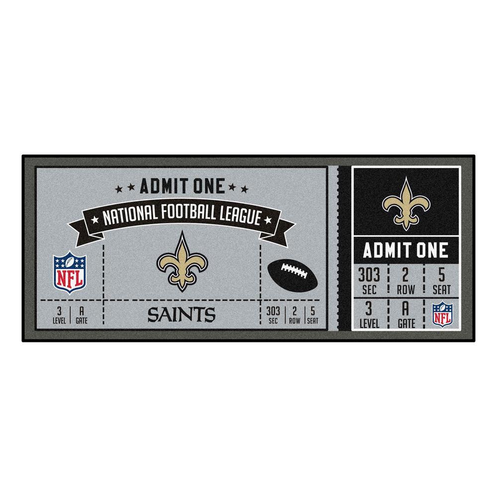 NFL - New Orleans Saints 30 in. x 72 in. Indoor Ticket Runner Rug