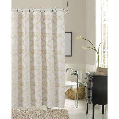 Luxembourg 72 in. Ivory Damask Print Shower Curtain