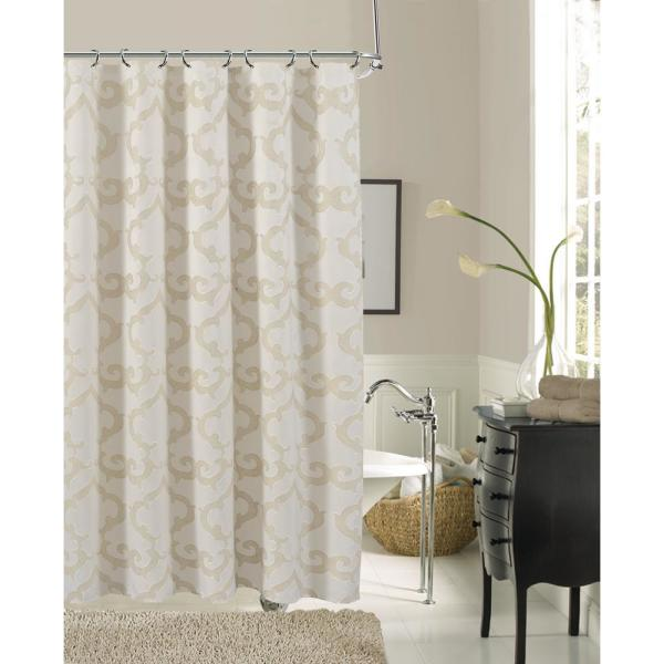 Dainty Home Luxembourg 72 in. Ivory Damask Print Shower Curtain